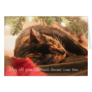 Juldrömmar som sovar Calico, personifierar Hälsningskort