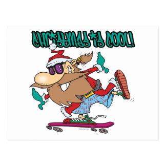 julen är den kalla gettoskaterskateboarderen santa vykort