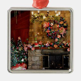 Julen avfyrar ställeplats silverfärgad fyrkantigt julgransprydnad