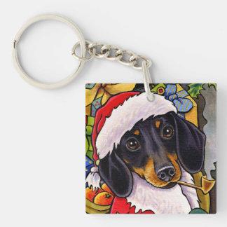 Julen för Santa hundtax kvadrerar Keychain