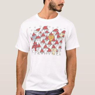 Julen mönstrar med roliga katter för en radda t shirt