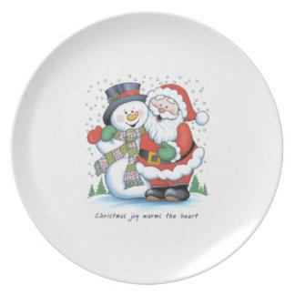 julen pläterar: krama för snögubbe och santa tallrik