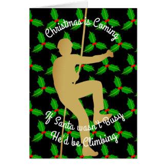 Julen Santa Would är stenklättringen Hälsningskort