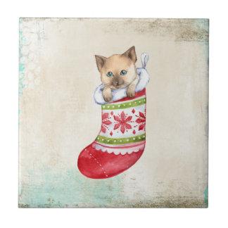 Julen semestrar den röd och vitsockan med en cat. liten kakelplatta