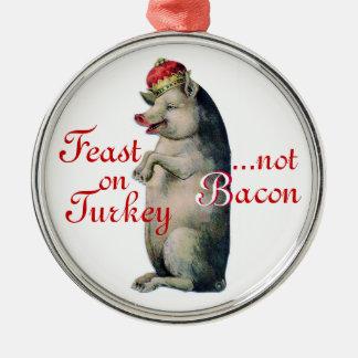 Julen smyckar, griskungen, ingen bacon rund silverfärgad julgransprydnad