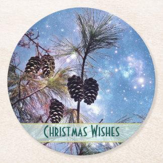 Julen sörjer kottar under en himmel för starry underlägg papper rund