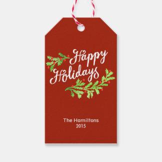 Juletiketter för glad helgjärnekbär presentetikett