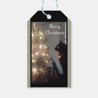 Juletiketter för katt för julglädjeCalico Presentetikett