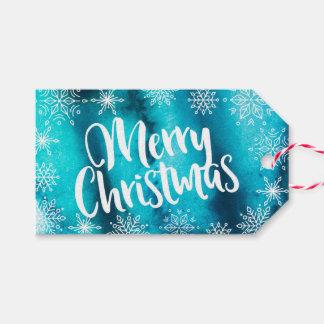 Juletiketter för personligblåttvattenfärg presentetikett