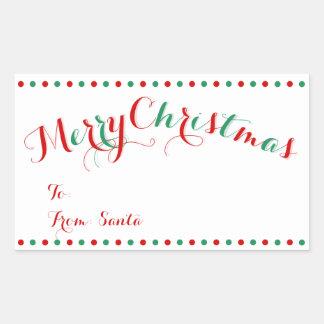 Juletiketter för personligvitrektangel rektangulärt klistermärke