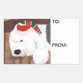 Juletiketter - gammal engelsk Sheepdog Rektangulärt Klistermärke
