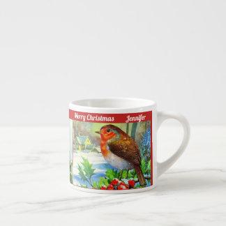 Julfågelbarnets kakaon för kopp personifierar NAMN Espressomugg