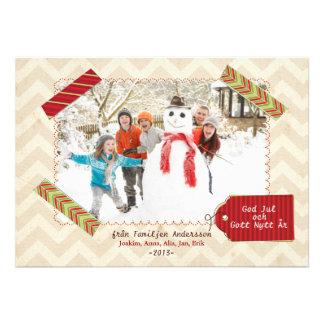 Julfamilj Hälsningskort Med Foto Custom Invitation