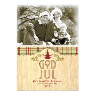 Julfamilj Hälsningskort Med Foto Inbjudningskort