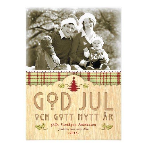Julfamilj Hälsningskort Med Foto Personliga Tillkännagivande