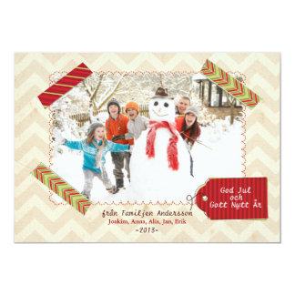 Julfamilj Hälsningskort Med Foto Inbjudningar