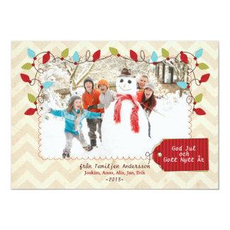 Julfamilj Hälsningskort Med Foto Personliga Tillkännagivanden