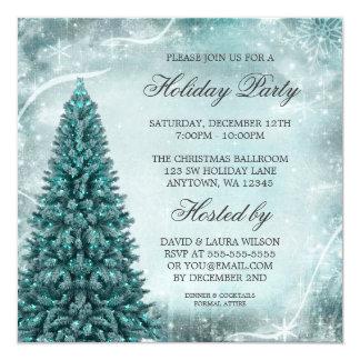Julfest för krickablåttjulgran fyrkantigt 13,3 cm inbjudningskort
