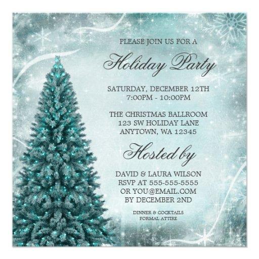Julfest för krickablåttjulgran anpassningsbara inbjudningskort