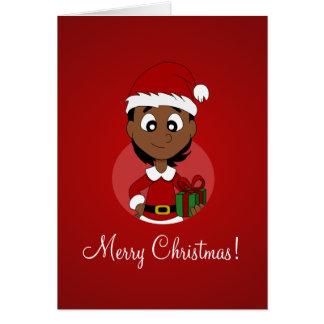 Julflickatecknad Hälsningskort