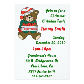 Julfödelsedagsfest inbjudanför barn 12,7 x 17,8 cm inbjudningskort