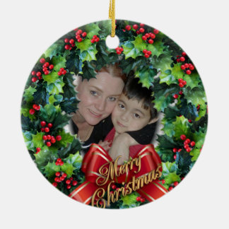 Julfotoprydnad för mormor julgransprydnad keramik