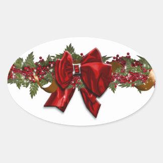 Julgirland traditionella Juli December Ovalt Klistermärke