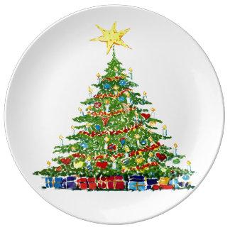 Julgran och gåvor porslinstallrik