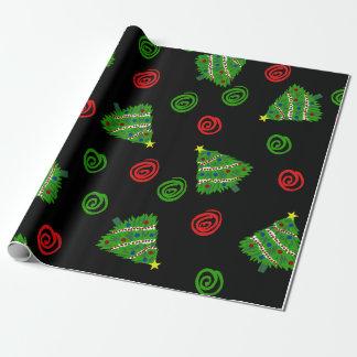 Julgranar med swirls. presentpapper