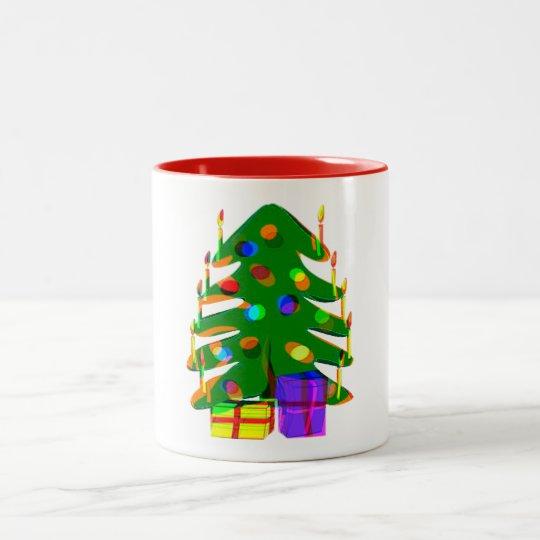 julgranen tänder design för presenterhelgdagmugg Två-Tonad mugg