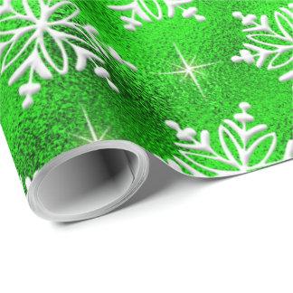 Julgrönt med vitsnöflingor presentpapper