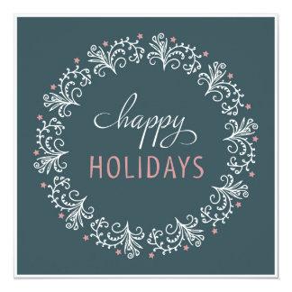 Julhälsningkort. Lyckliga Holidays. Fyrkantigt 13,3 Cm Inbjudningskort