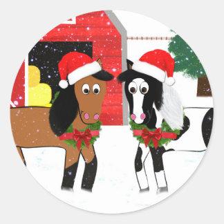Julhästar Runt Klistermärke
