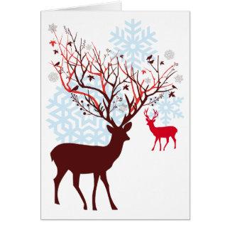 Julhjort med trädgrenhorn på kronhjort hälsningskort