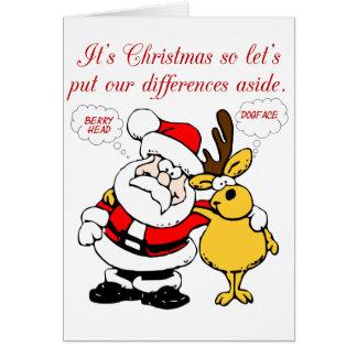 Julhumor: Stoppa att slåss & förena roligt Hälsningskort