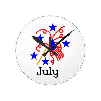 Juli 4th flagga rund klocka