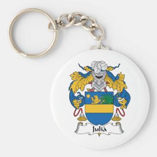 Julia familjvapensköld rund nyckelring