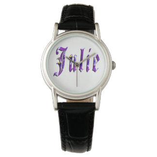 Julie namn, logotyp, klocka för damsvartläder