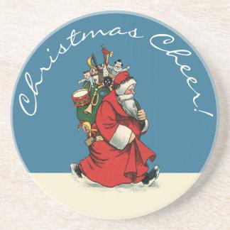 Juljubel: Vintage Santa med säcken av leksaker Underlägg