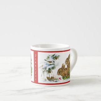 Julkaninbarnets kopp personifierar NAMN Espressomugg
