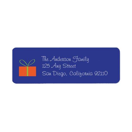 Julklappadressetikett (blått) returadress etikett