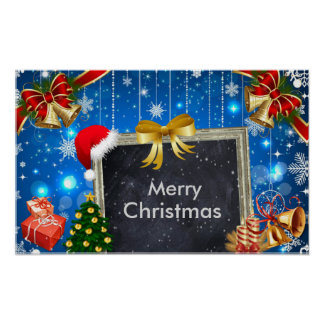JulKlockor gåvor och träddekorationaffisch Poster