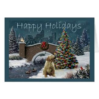 Julkort Evening4 för Labrador Retriever Hälsningskort