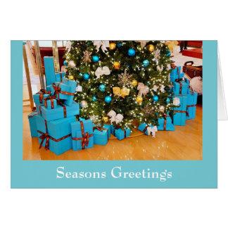 Julkort för blåttjulsäsonhälsningar hälsningskort
