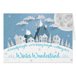 Julkort för by för vinterunderland snöig hälsningskort