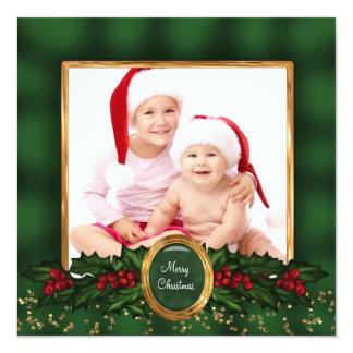 Julkort för foto för elegant järnekgrönt guld- fyrkantigt 13,3 cm inbjudningskort