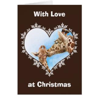 Julkort för giraff- & kalvSnowflakehjärta Hälsningskort