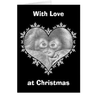 Julkort för hjärta för babyOrangutanSnowflake Hälsningskort