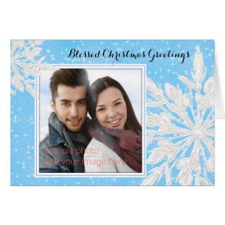 Julkort för kristen för foto för iskristallblått hälsningskort