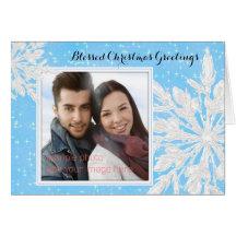 Julkort för kristen för foto för iskristallblått hälsnings kort